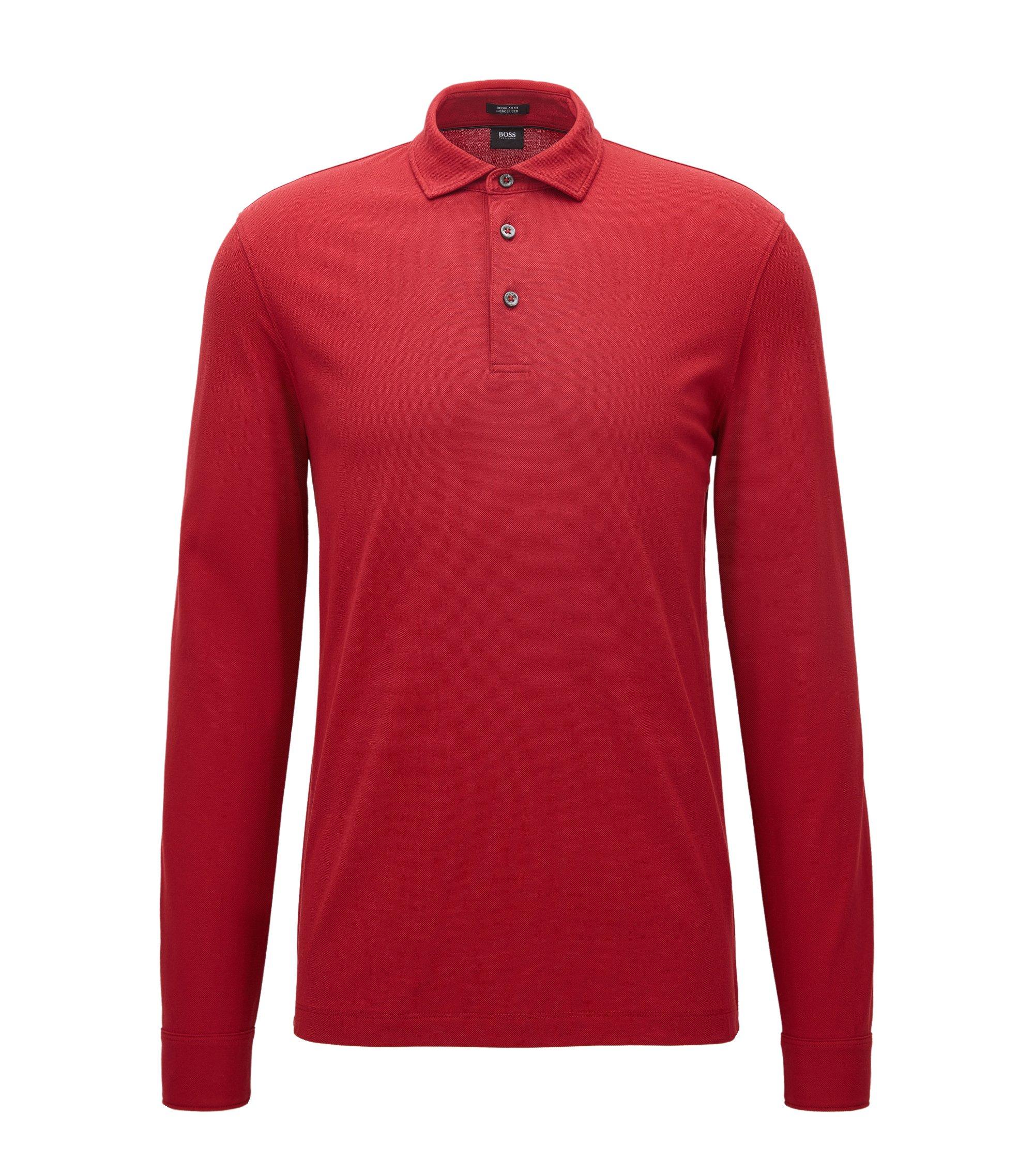 Regular-Fit Longsleeve Poloshirt aus merzerisierter Baumwolle, Rot