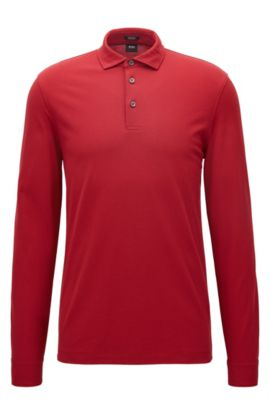 Regular-fit long-sleeved polo shirt in mercerised cotton piqué, Red