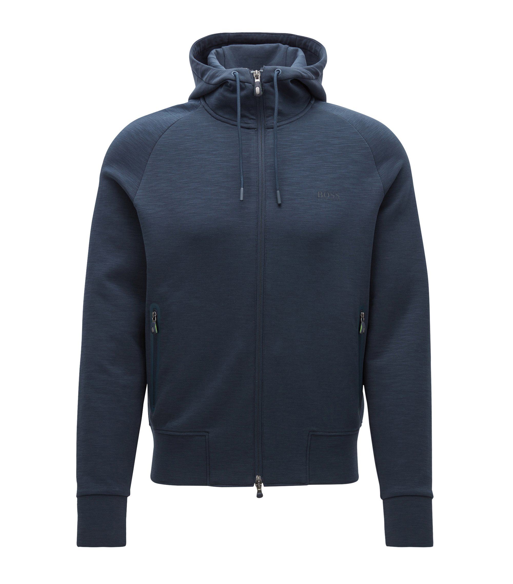 Slim-fit hooded jacket in a cotton mix, Dark Blue