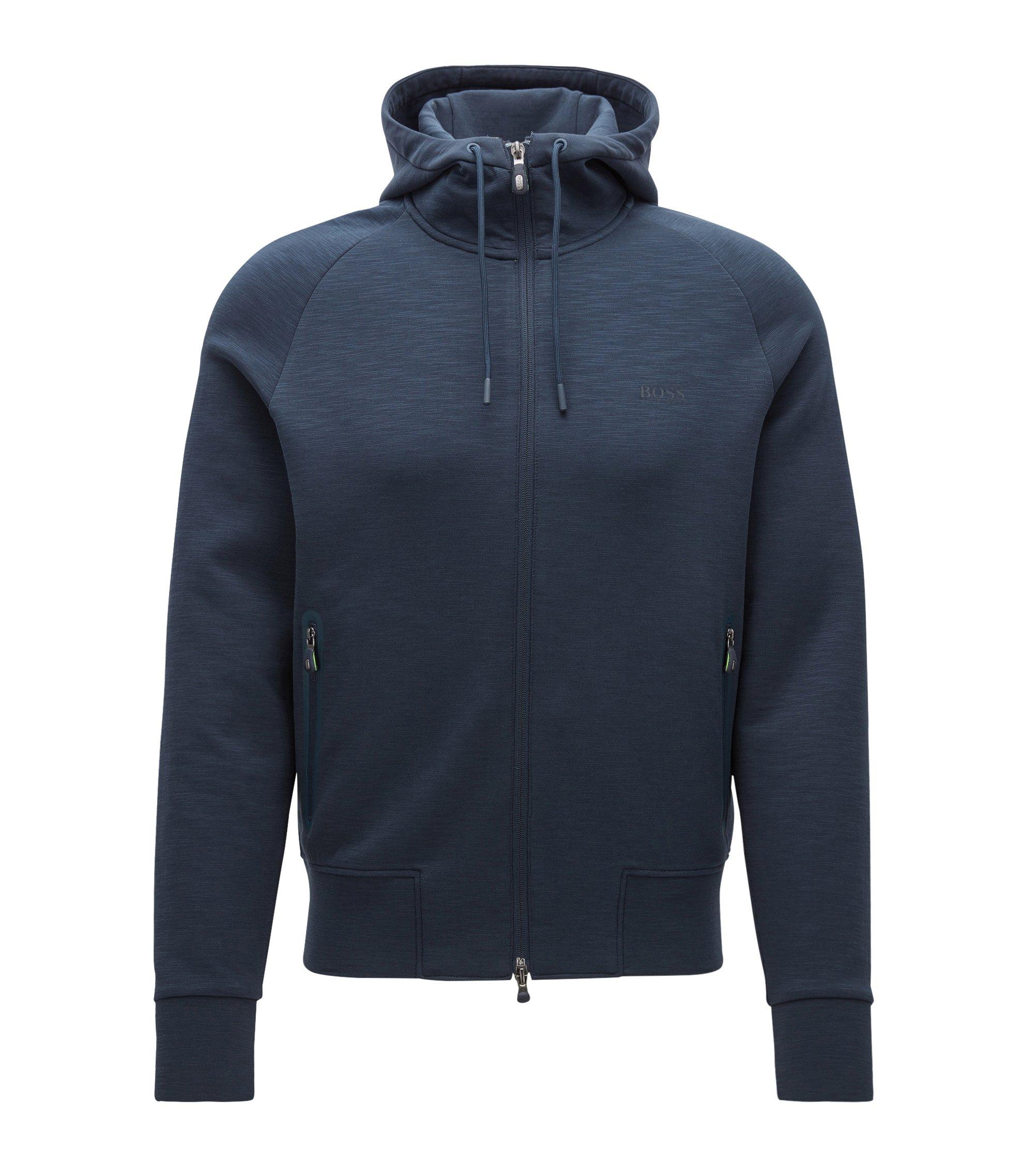 Slim-fit jas van een katoenmix met capuchon, Donkerblauw