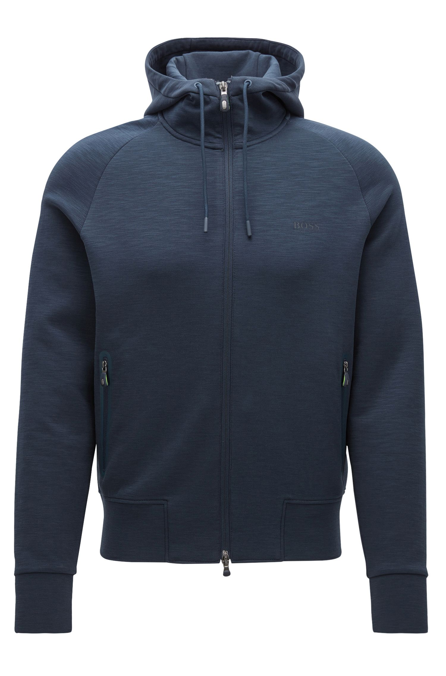 Slim-fit hooded jacket in a cotton mix