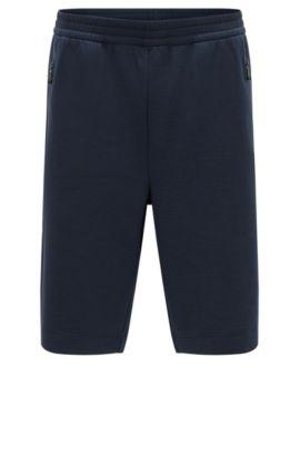 Shorts de punto en mezcla de algodón con elástico, Azul oscuro