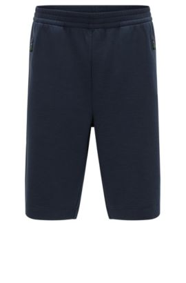 Jersey shorts in stretch cotton blend, Dark Blue