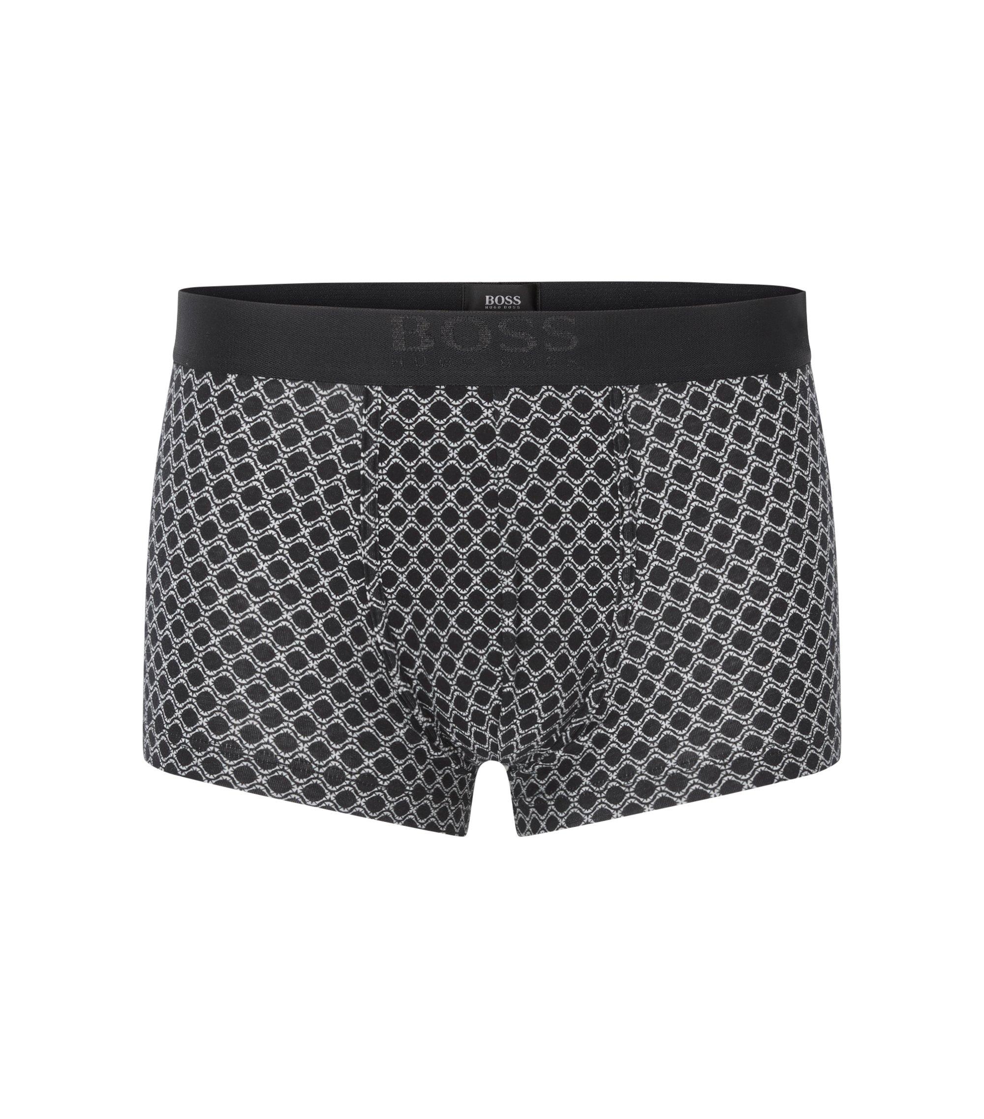 Gemusterte Boxershorts aus elastischer Baumwolle, Schwarz