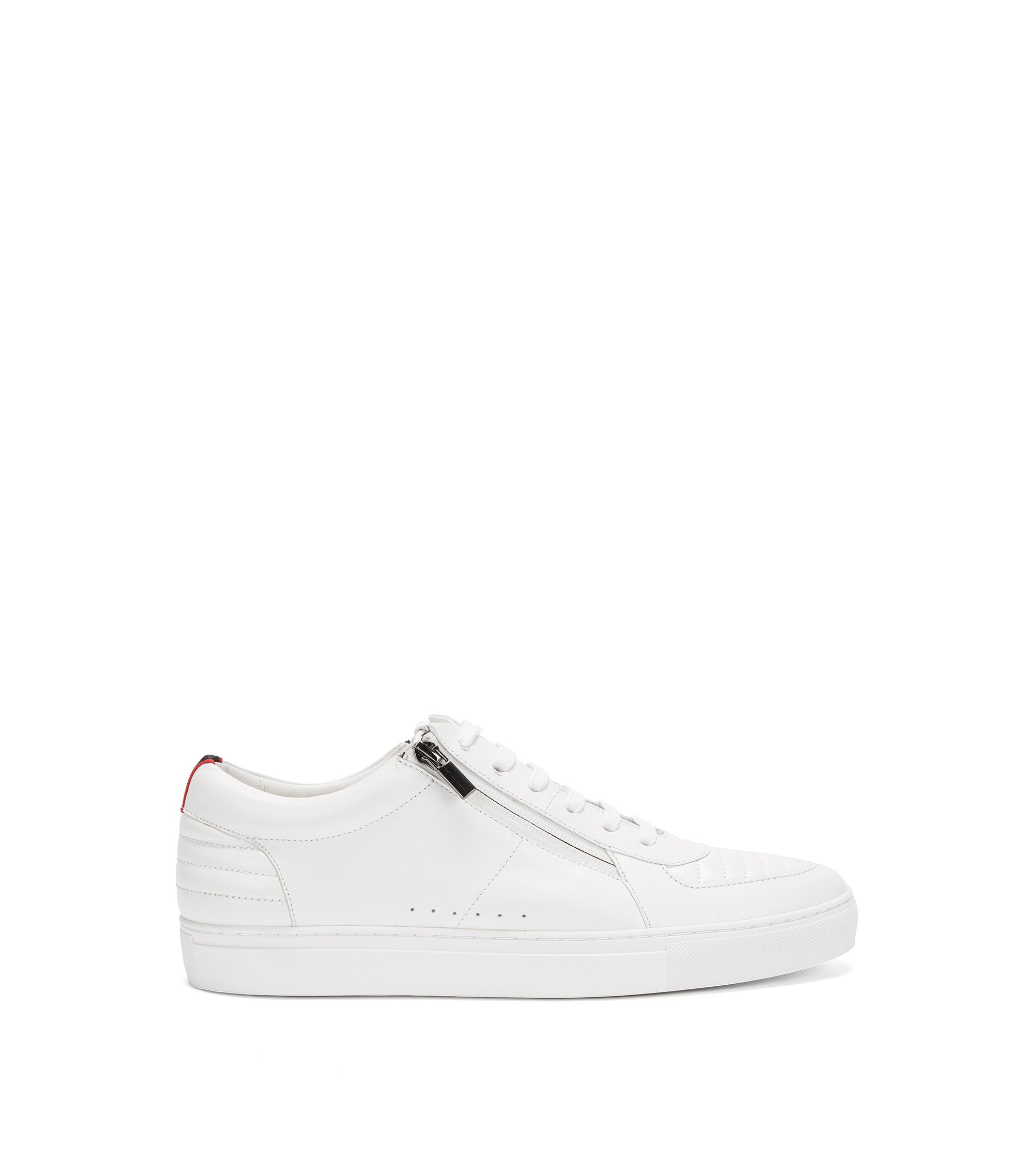 Low-top lace-up trainers in padded nappa leather, White