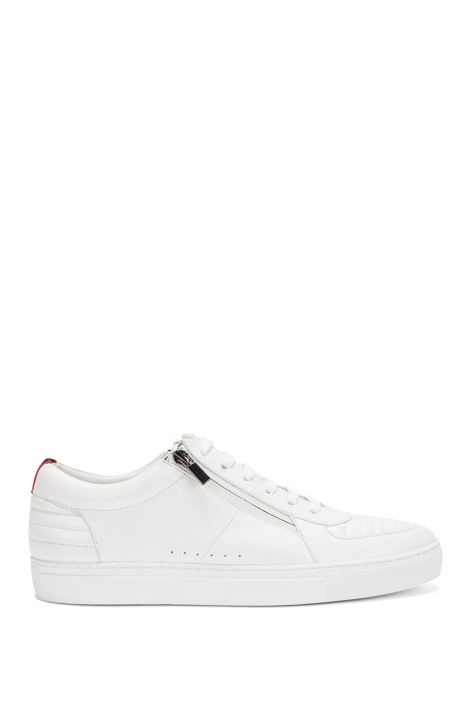 Low-top lace-up trainers in padded nappa leather