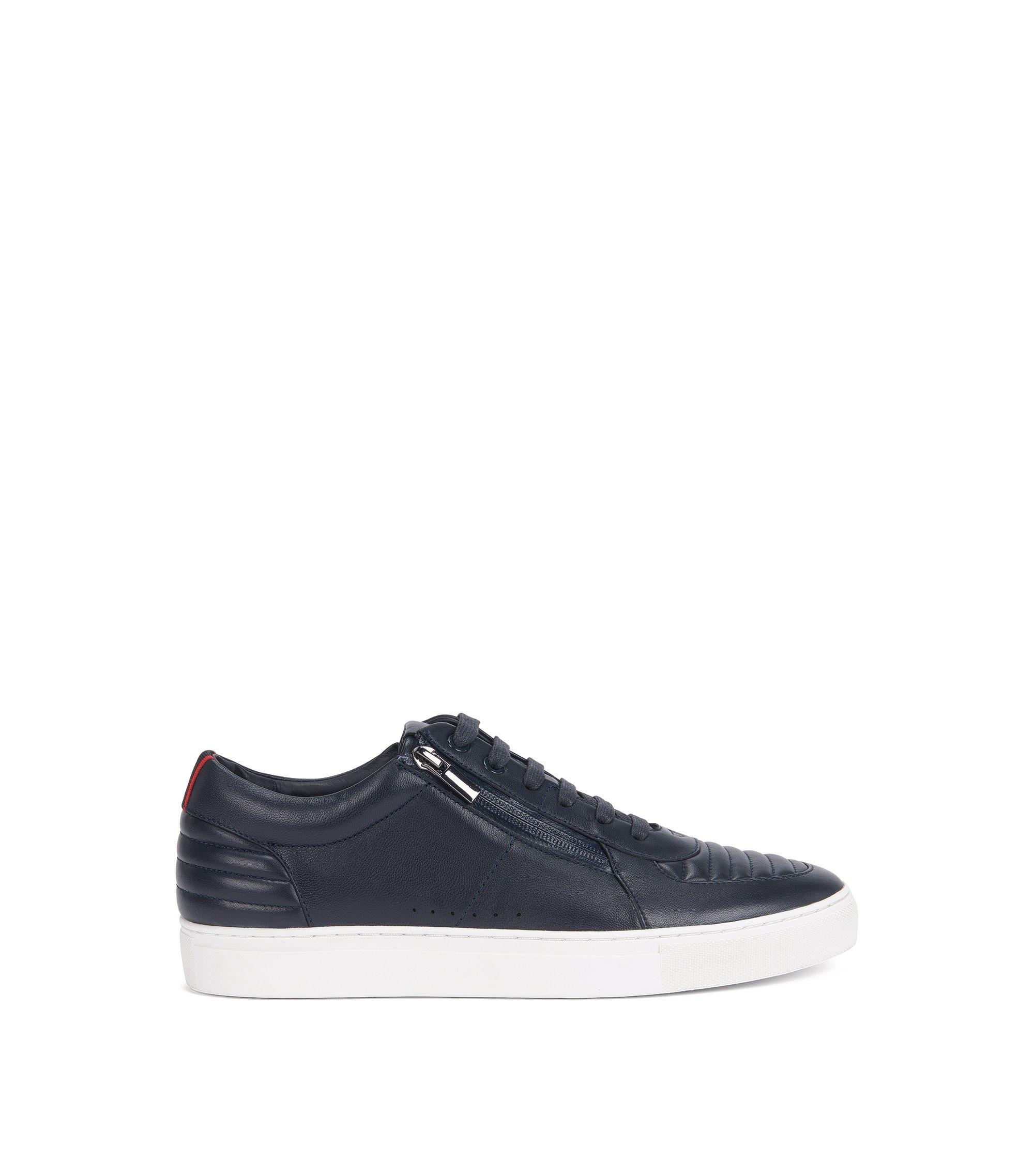 Sneakers aus gepolstertem Nappaleder mit Schnürung, Dunkelblau