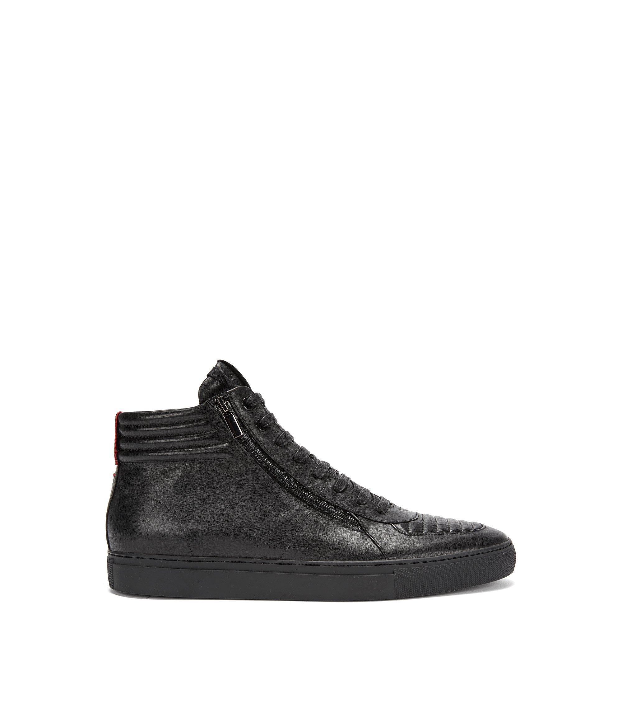 Hoge vetersneakers van gevoerd nappaleer, Zwart