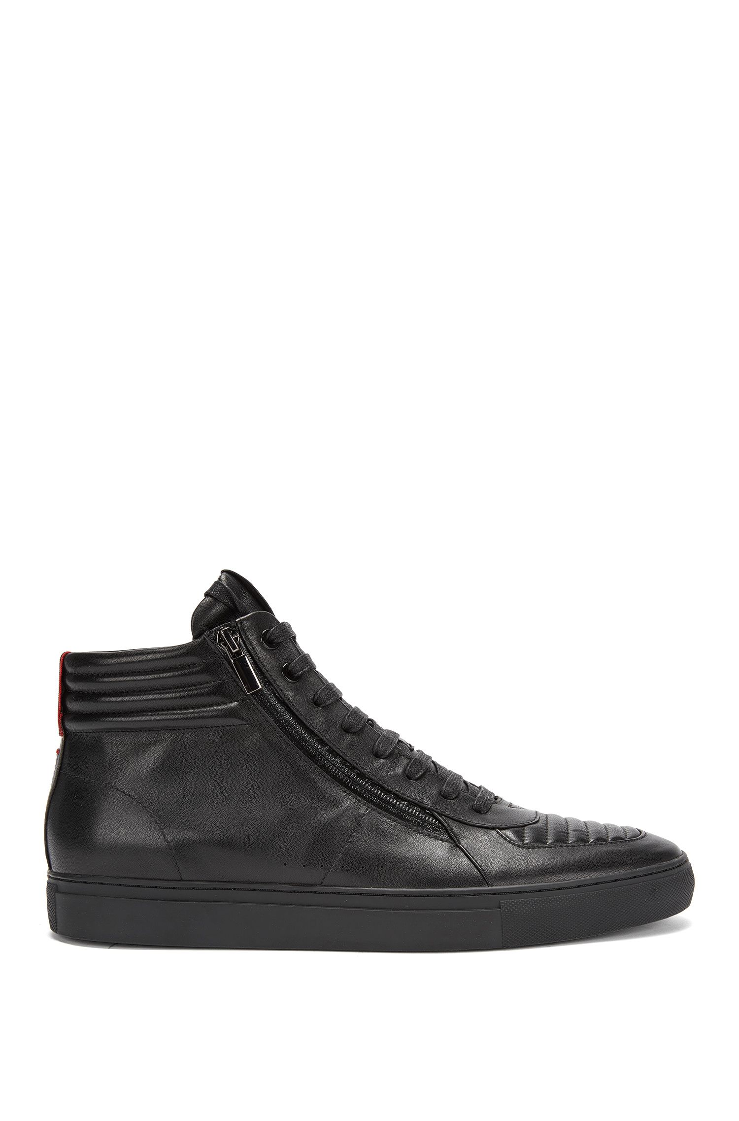 Sneakers stringate high-top in pelle nappa imbottita