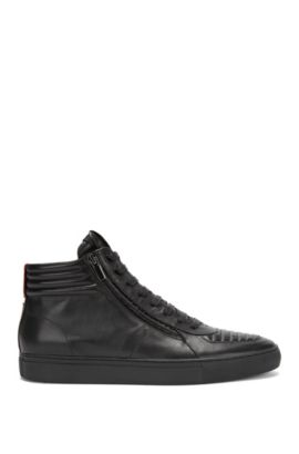Sneakers stringate high-top in pelle nappa imbottita, Nero