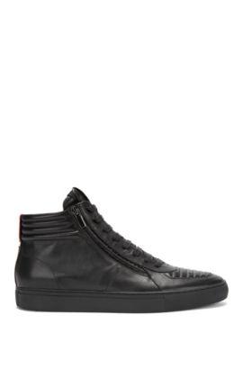 Hightop Sneakers aus gepolstertem Nappaleder mit Schnürung, Schwarz
