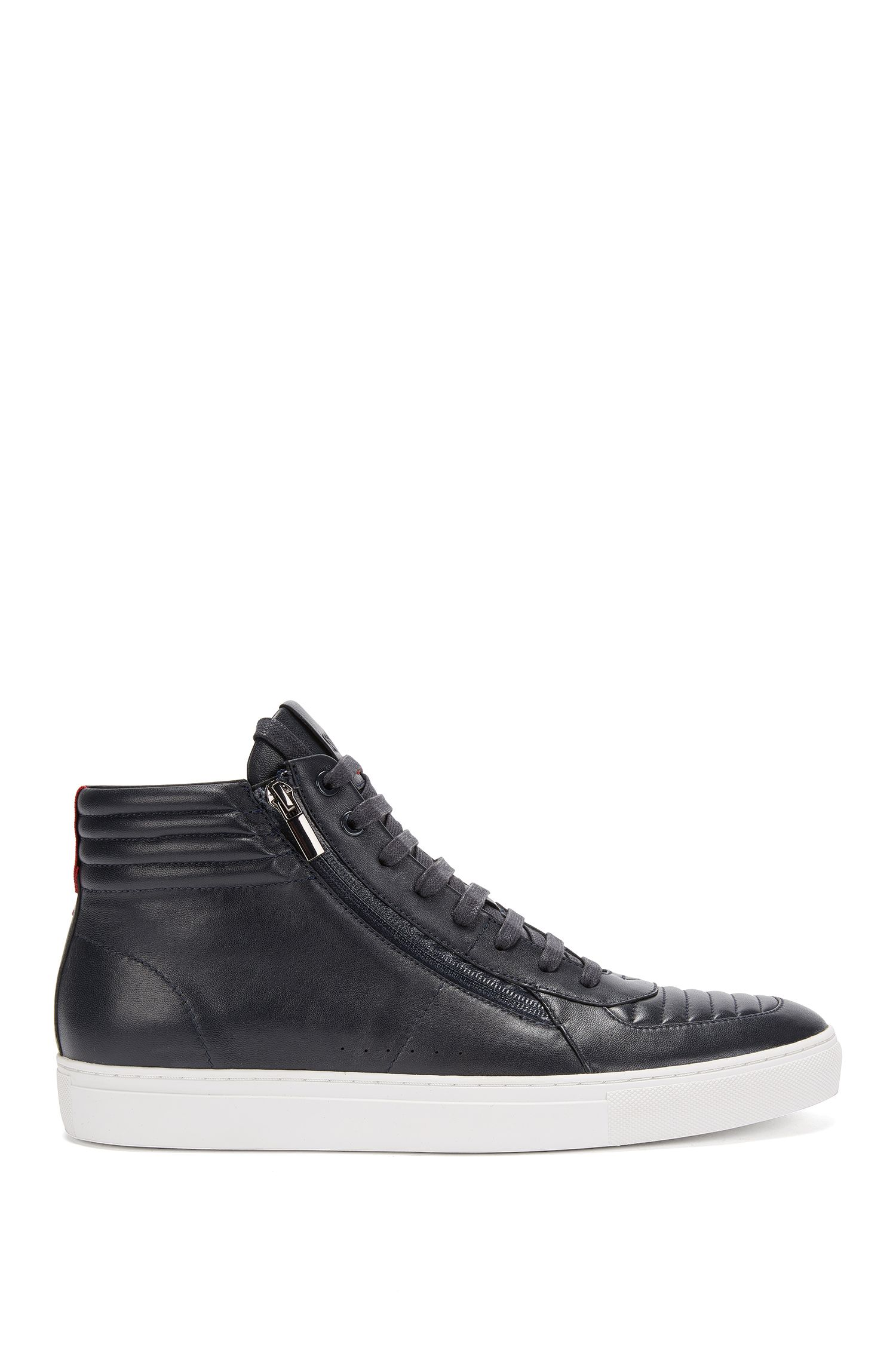 High-top lace-up trainers in padded nappa leather