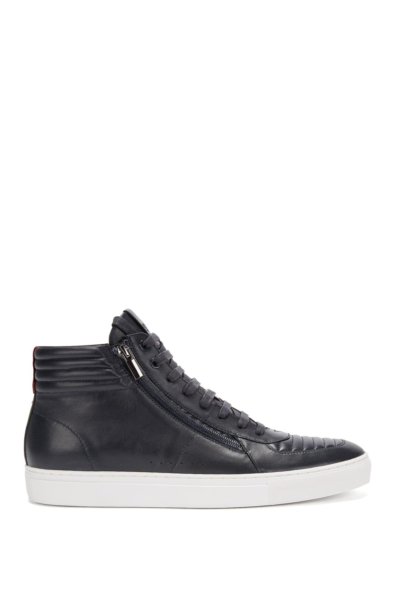 Sneakers stringate high-top in pelle nappa imbottita