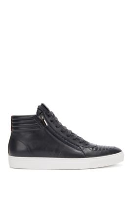 High-top lace-up trainers in padded nappa leather, Dark Blue