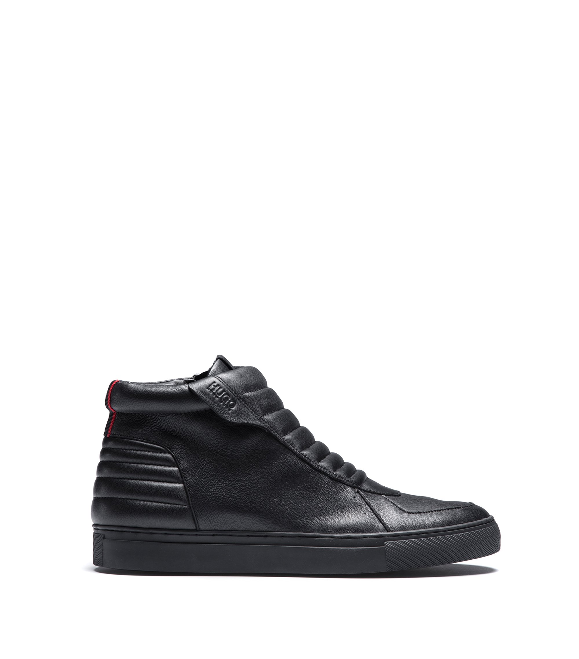 Sneakers high-top con zip in pelle nappa imbottita, Nero