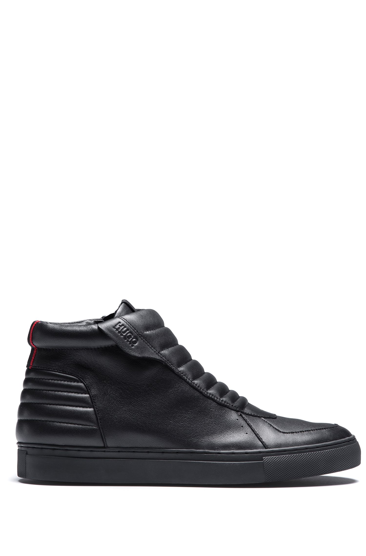 High-top zip-up trainers in padded nappa leather