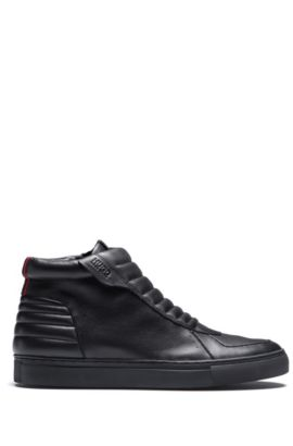 High-top zip-up trainers in padded nappa leather, Black