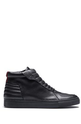 Hightop Sneakers aus gepolstertem Nappaleder mit Reißverschluss, Schwarz