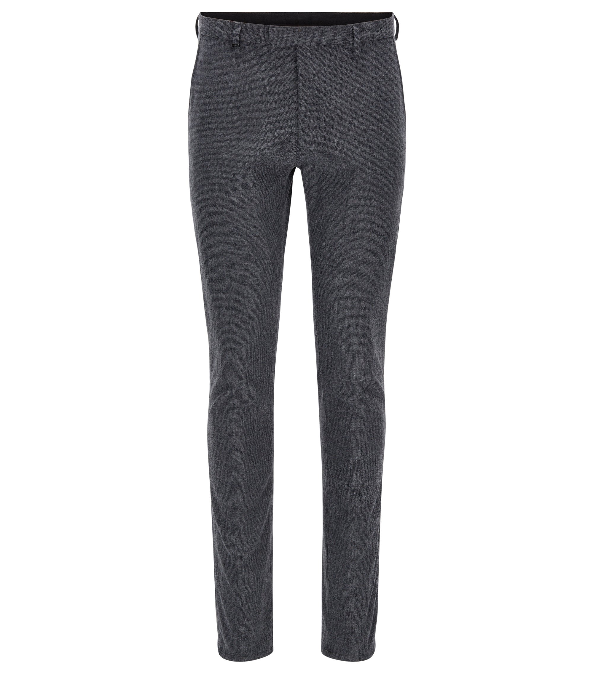 Tapered-fit trousers in a brushed cotton blend, Grey