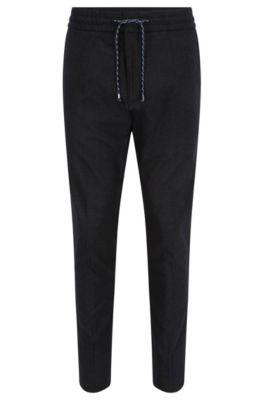 Pantalon Tapered Fit en coton mélangé avec cordon de serrage à la taille., Anthracite
