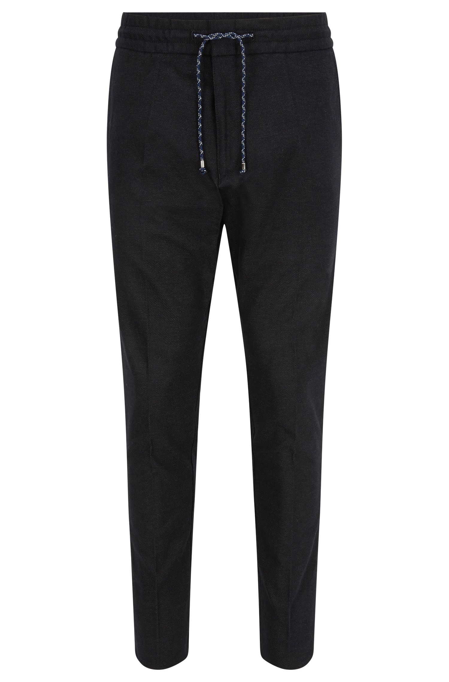 Tapered-fit cotton-blend trousers with drawstring waist