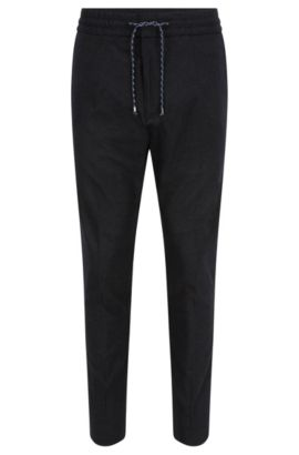 Tapered-fit cotton-blend trousers with drawstring waist, Anthracite