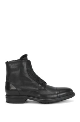 Lace Up Half Boots In Mixed Leathers Black