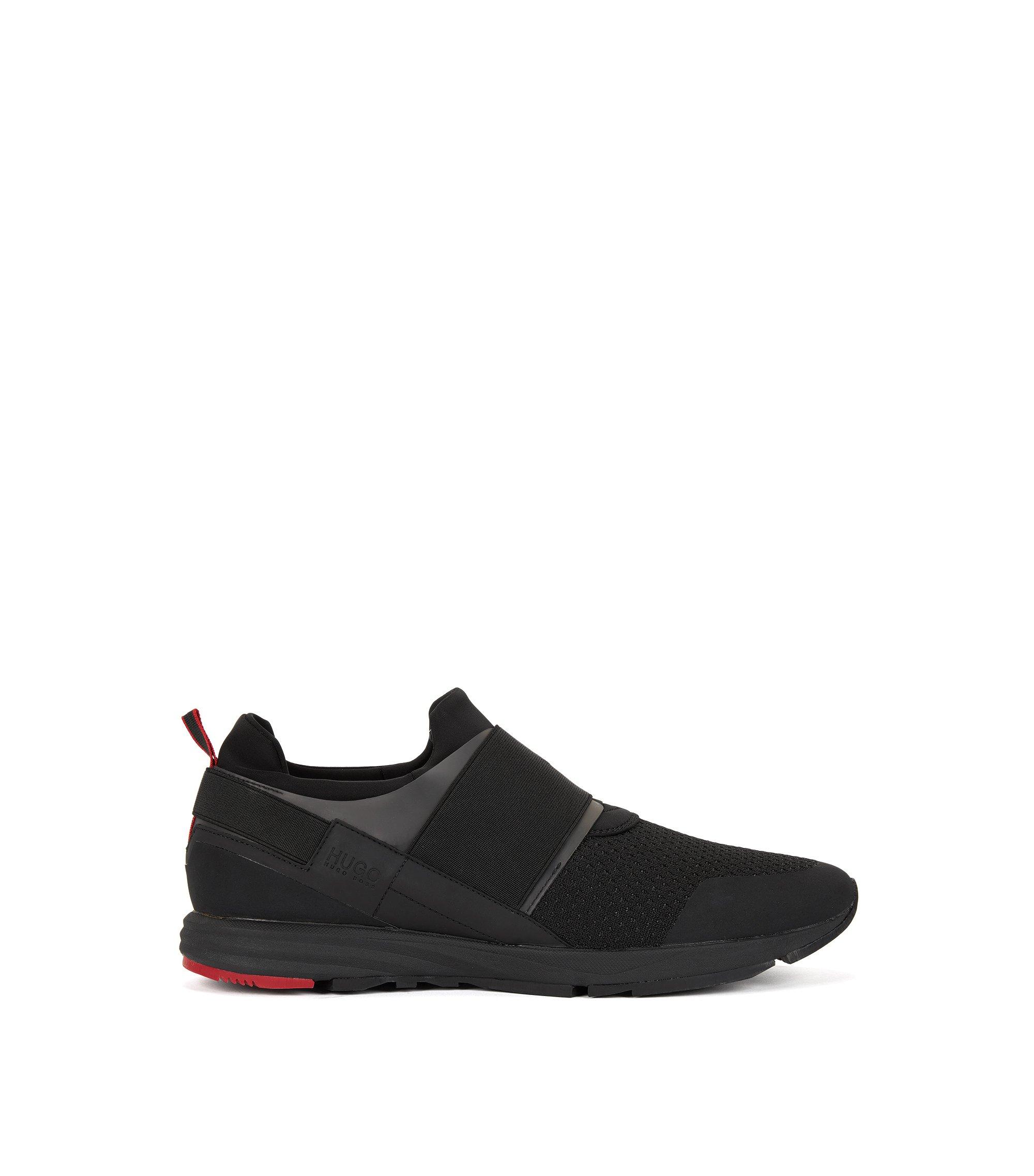 Lage sneakers met elastisch detail, Zwart
