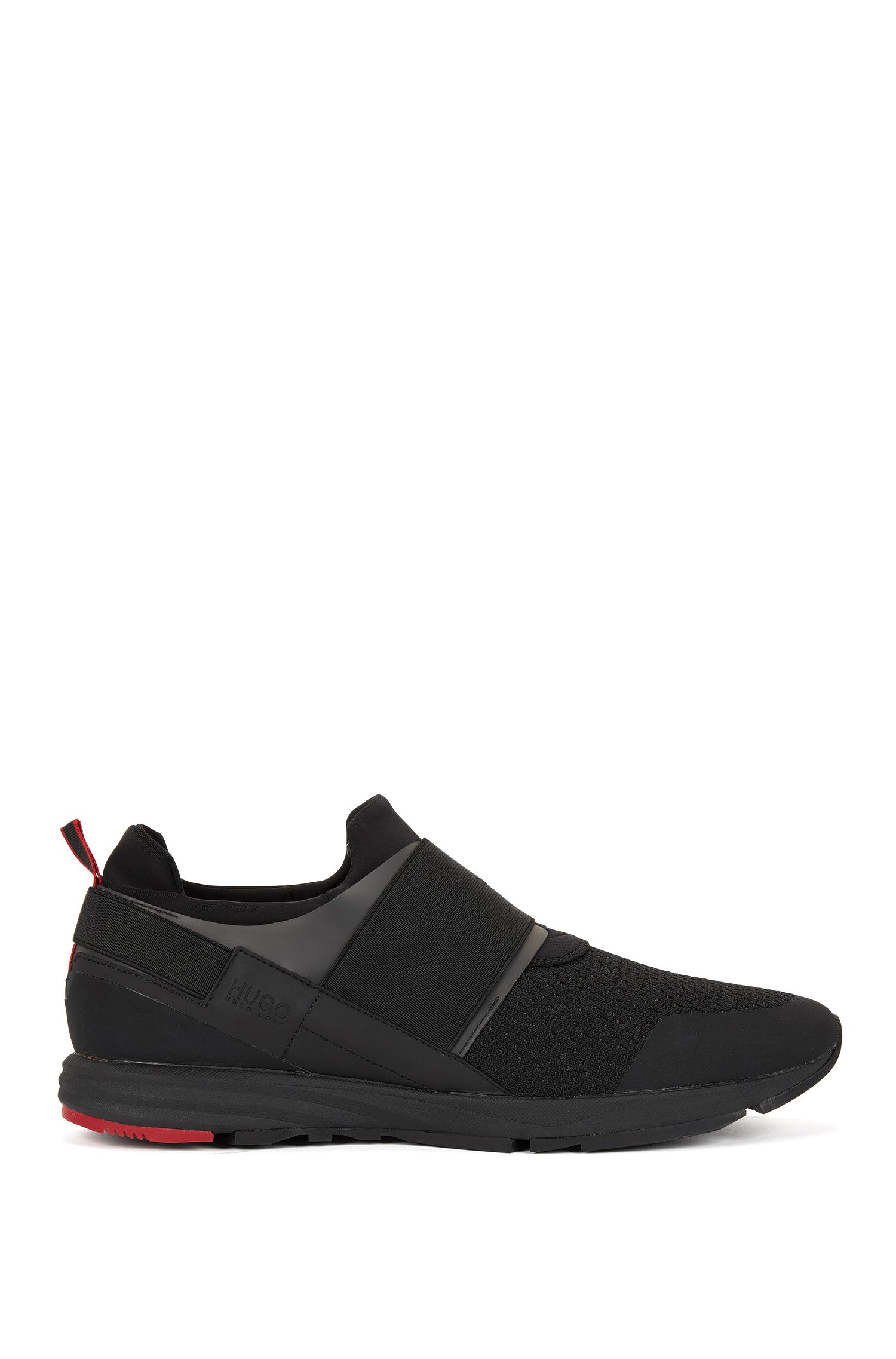 Sneakers aus Material-Mix mit elastischem Riemen