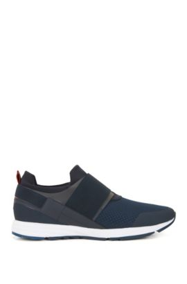 Low-top trainers with elastic detail, Blue