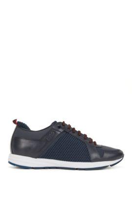 Sneakers aus Leder und Material-Mix, Blau