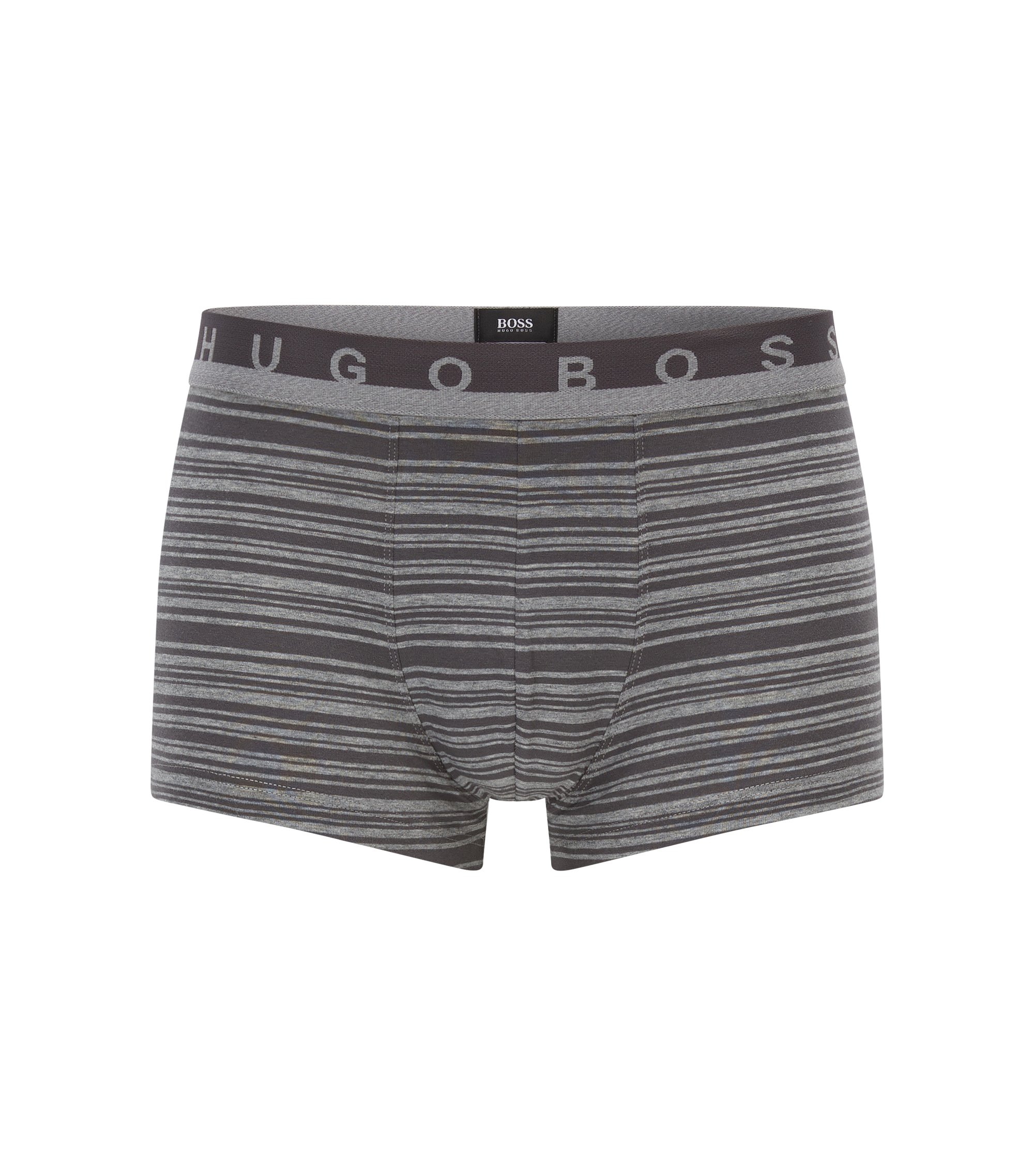 Striped trunks in stretch-cotton jersey, Grey