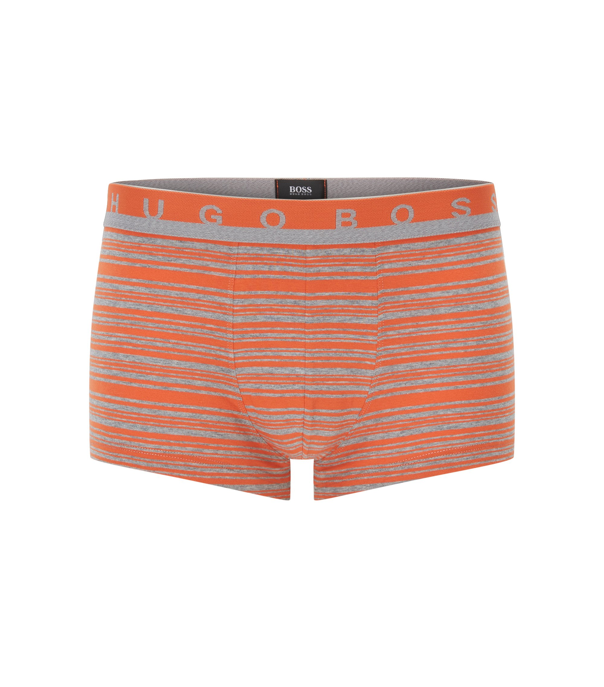 Gestreifte Boxershorts aus elastischer Baumwolle, Orange