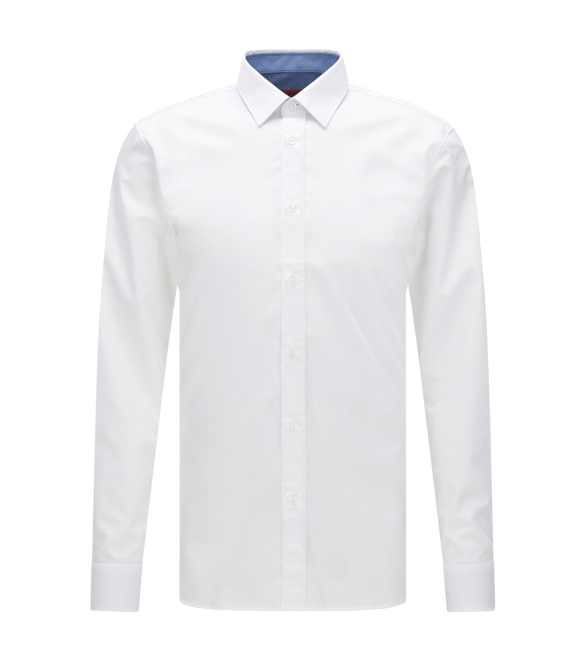 Camisa extra slim fit en popelín de algodón con detalles contrastados en el interior, Blanco