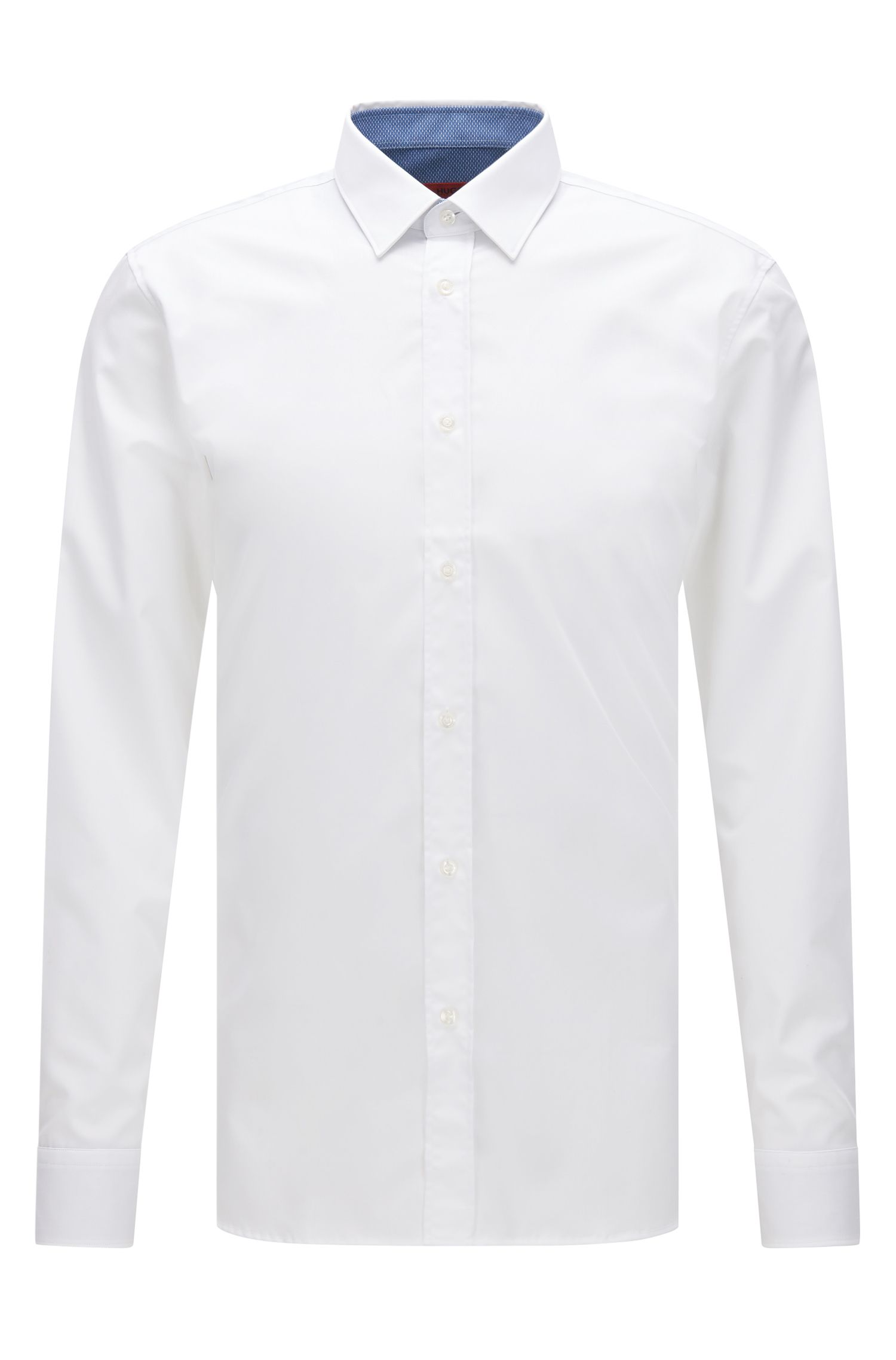 Extra-slim-fit cotton poplin shirt with internal contrasts