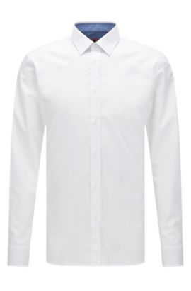 Extra-slim-fit cotton poplin shirt with internal contrasts, Open White