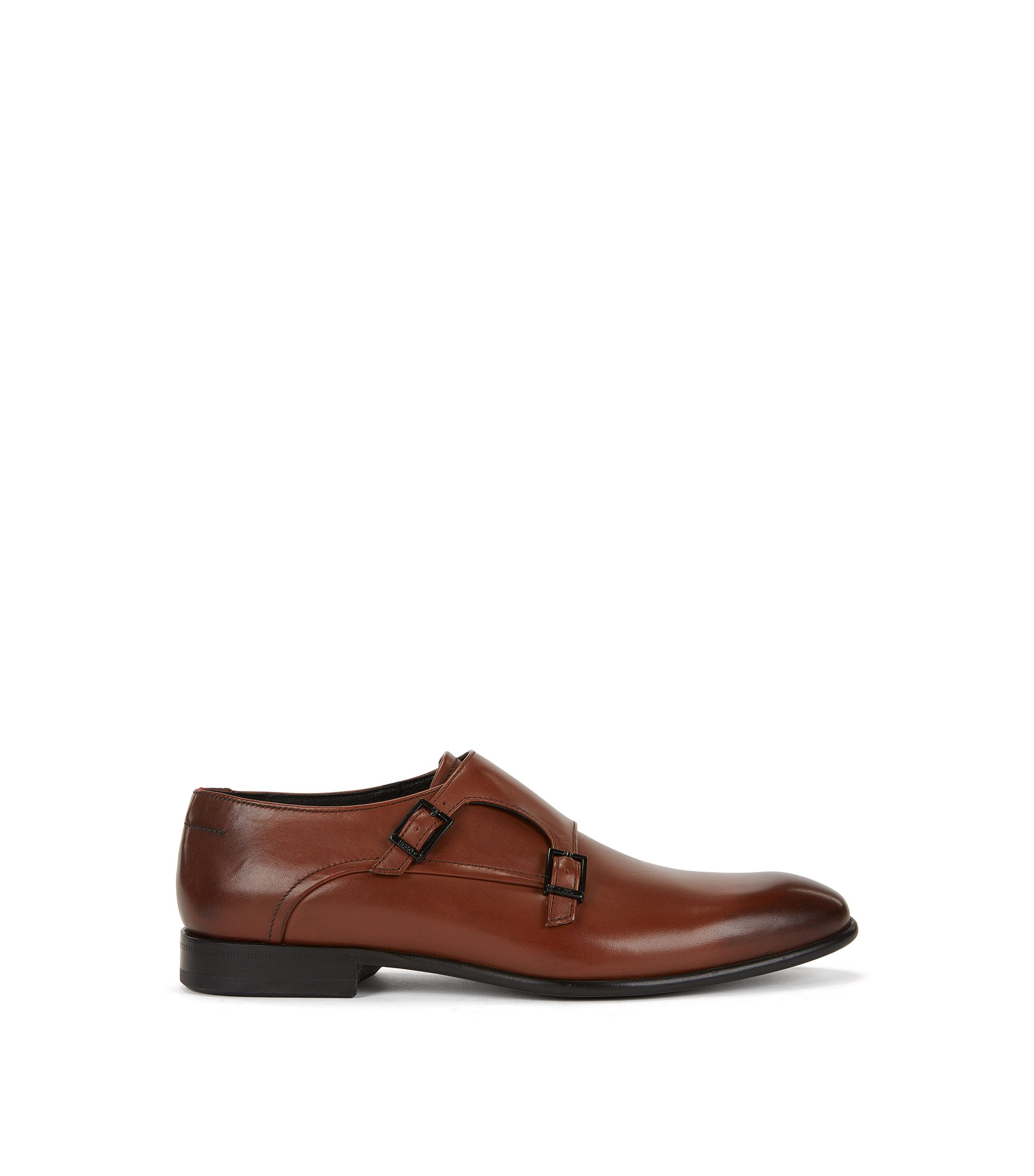 Double monk shoes in burnished calf leather, Brown