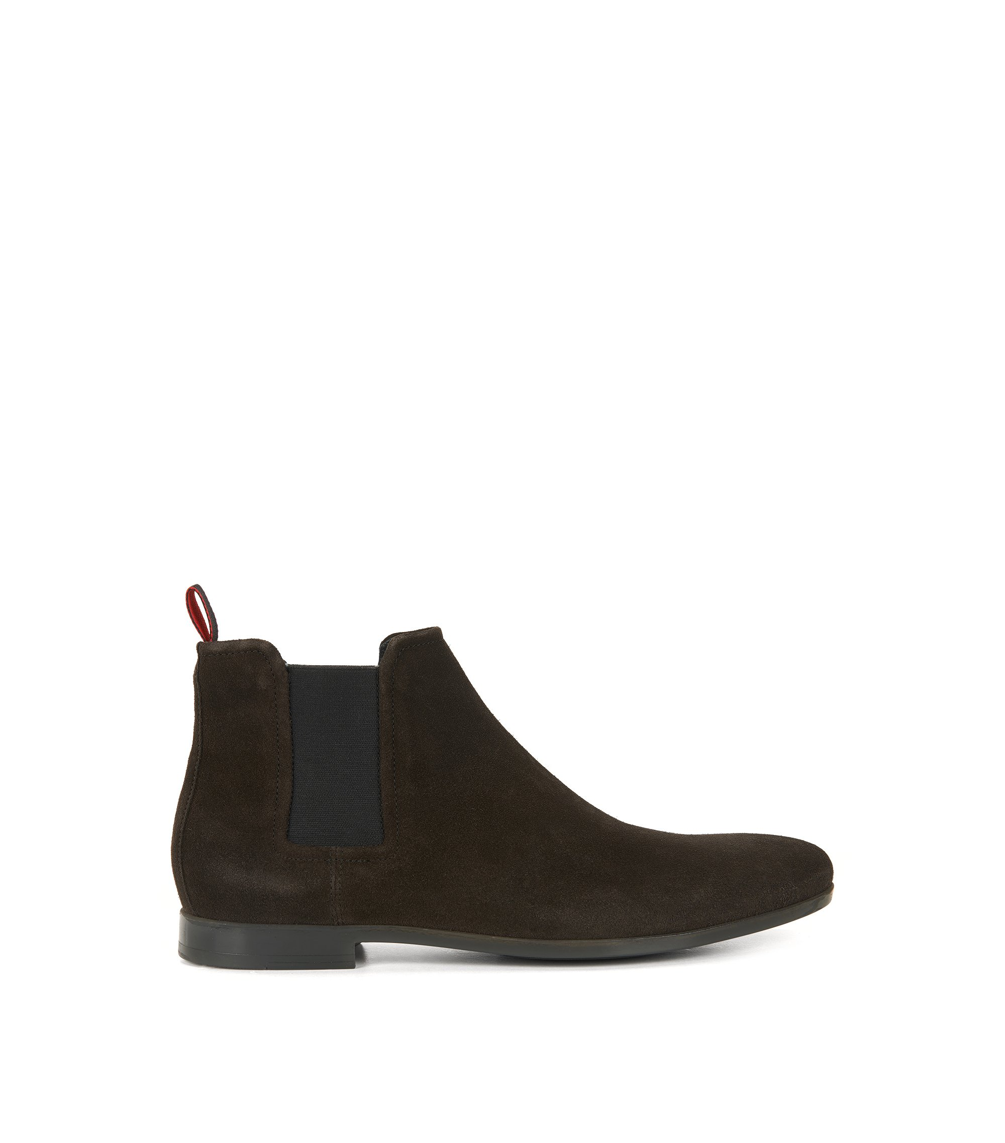 Chelsea boots in soft suede, Dark Brown