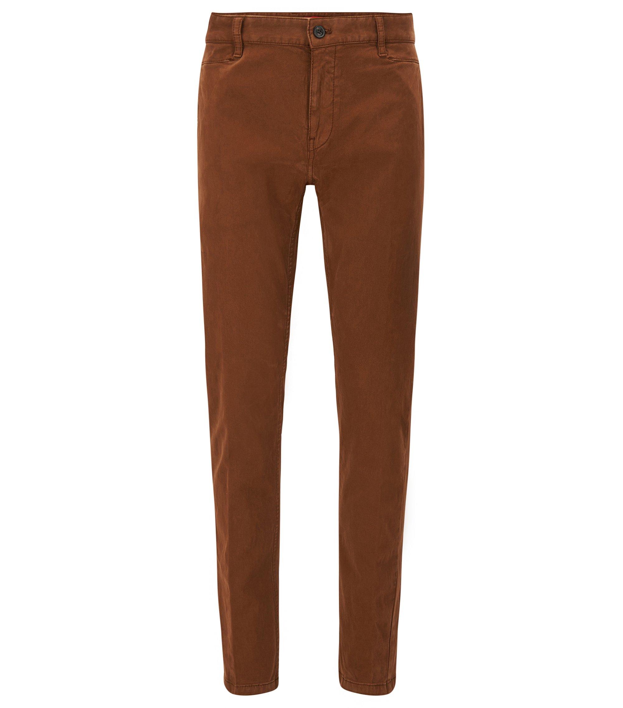 Pantalon Slim Fit en sergé brisé de coton stretch , Marron
