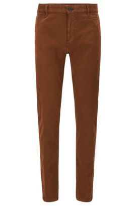 Slim-fit trousers in stretch cotton broken twill, Brown