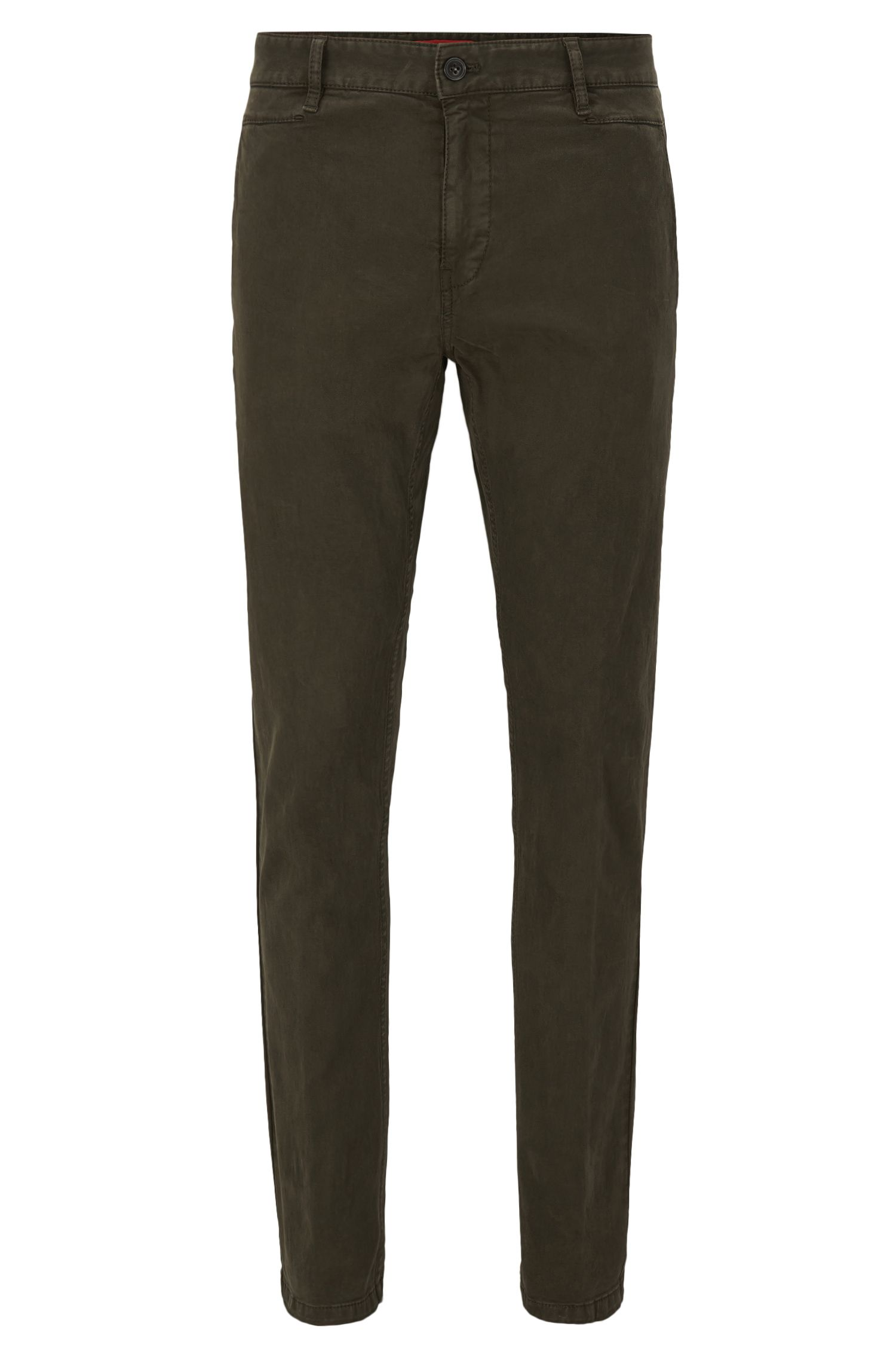Slim-fit trousers in stretch cotton broken twill