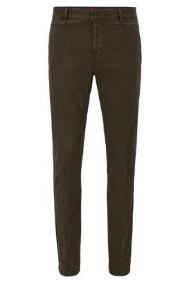 Pantalón slim fit en algodón elástico con diseño de espiga, Verde oscuro