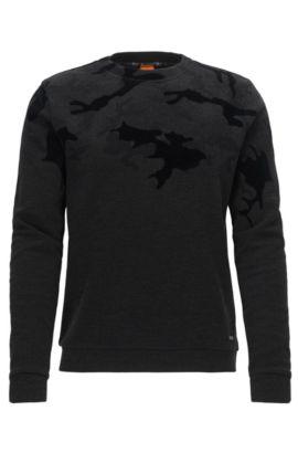 Regular-fit sweater in a cotton blend, Black