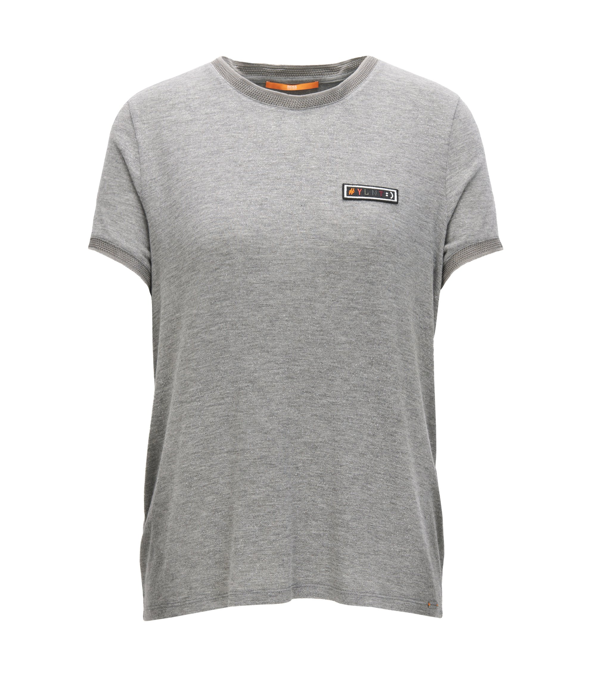 Regular-Fit T-Shirt aus Stretch-Modal mit schimmerndem Finish, Grau