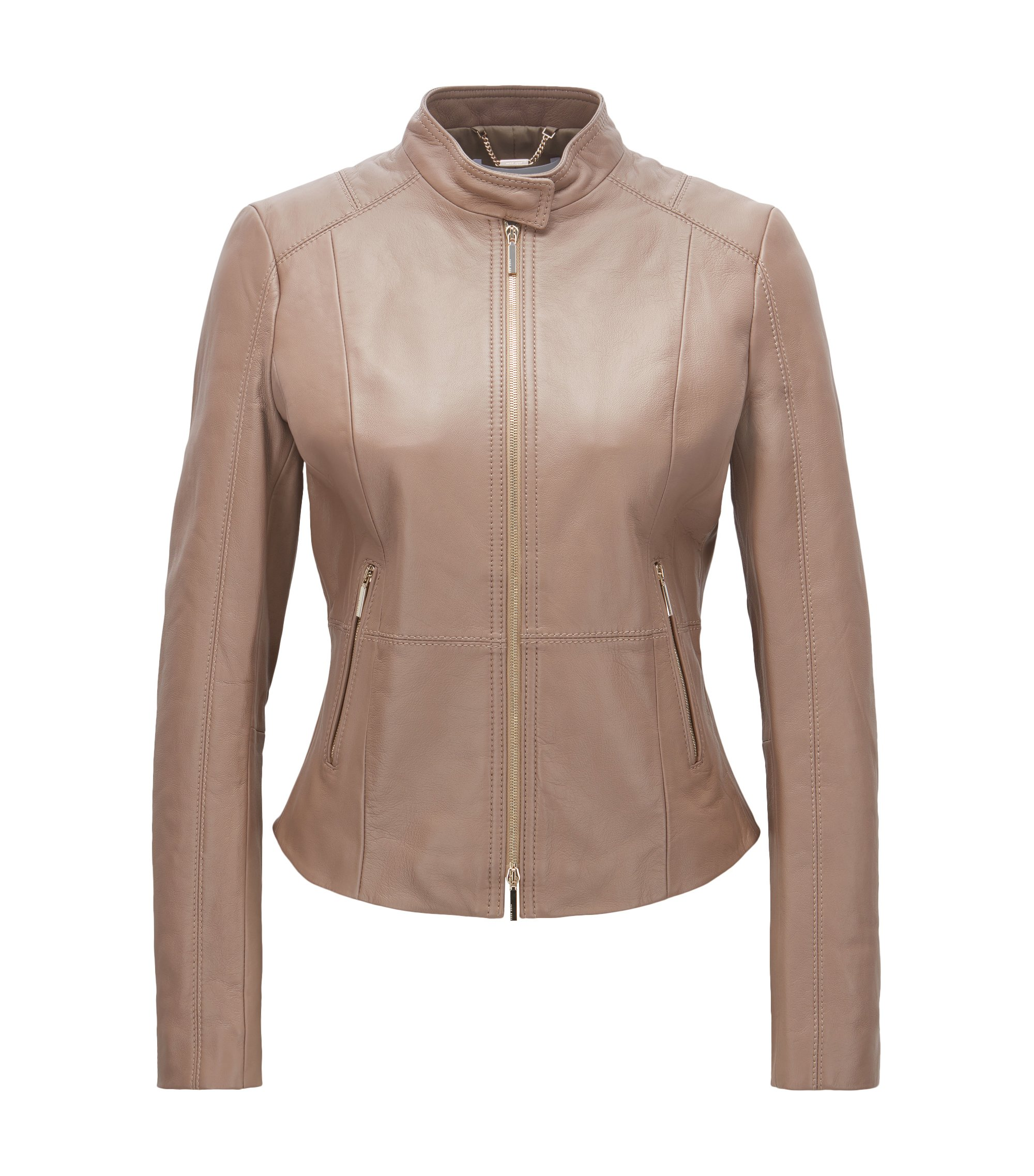 Regular-fit biker jacket in soft leather, Open Beige