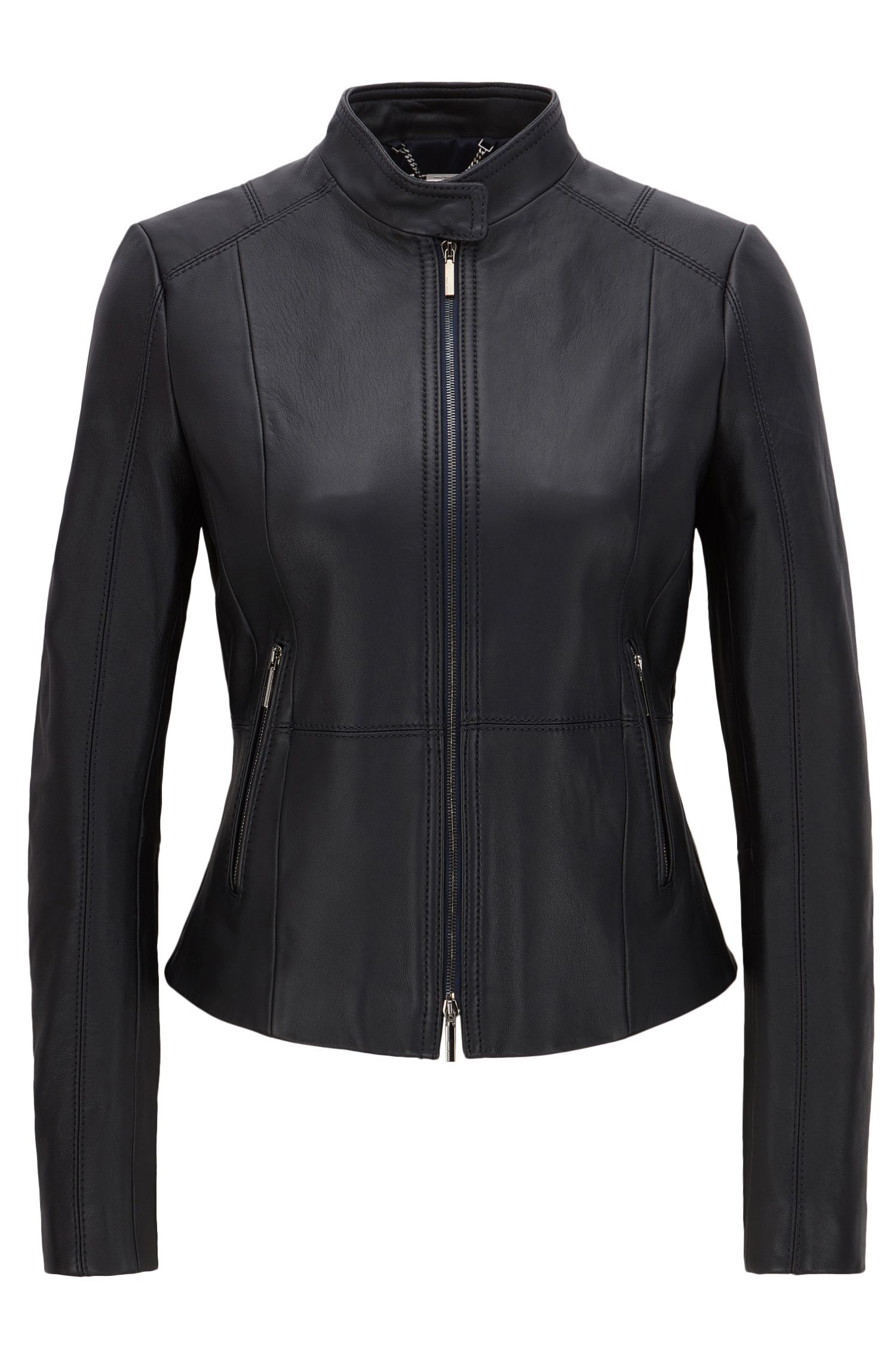 Regular-fit biker jacket in soft leather