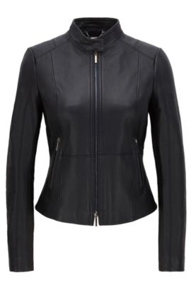 Regular-fit biker jacket in soft leather, Dark Blue