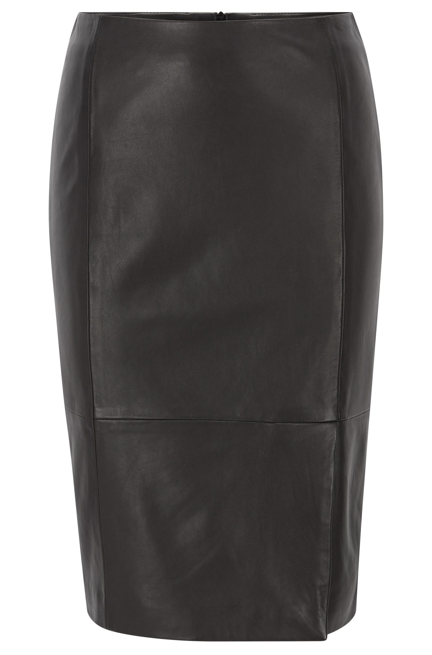 Leather pencil skirt with front vent
