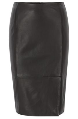 Leather pencil skirt with front vent, Black