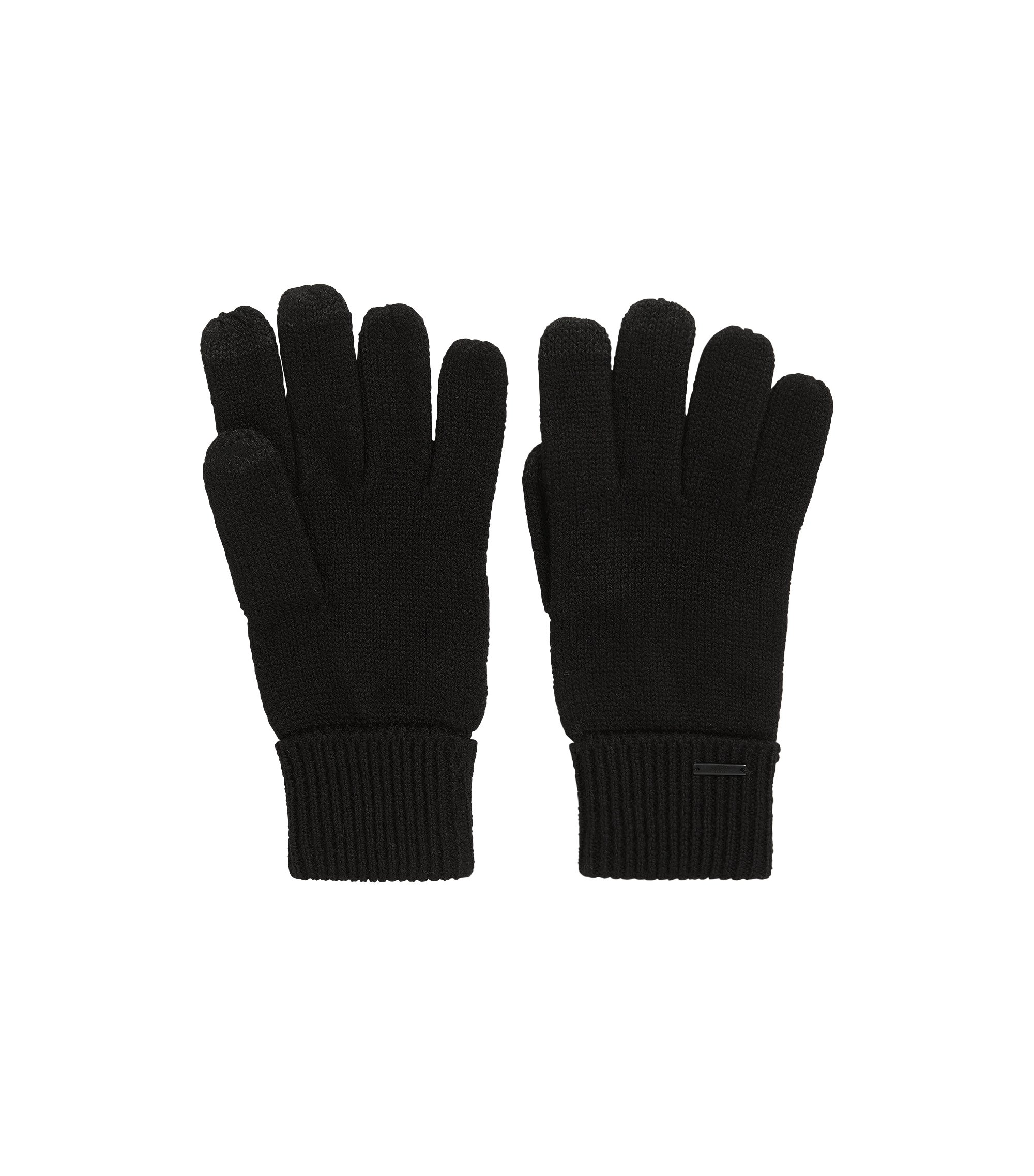 Strickhandschuhe aus Woll-Mix, Schwarz